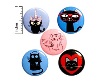 Cute Kitty Buttons Pin for Backpack Jackets Lapel Pins 5 Pack Badges Pinbacks Brooches or Fridge Magnets Cute Gift Set 1 Inch P31-1