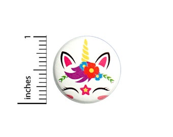 Cute Winking Anime Style Unicorn Cartoon Button Pin Pink Adorable Little Gift Pinback 1 Inch #61-20 -