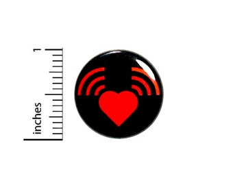 Heart Volume Radio Button Music Lover Play It Loud Turn It Up Pin 1 Inch #36-15