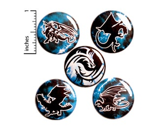 "Dragon Pins for Backpacks or Fridge Magnets, Buttons Pins for Jackets, Lapel Pins, Cool Badges, Blue, Black, White, 5 Pack Gift Set 1"" P44-3"