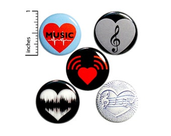 "Music Pin for Backpack 5 Pack Buttons or Fridge Magnets, Lapel Pins, Cool Brooches, Music Lover, I Love Music, Musician Gift Set 1"" P41-2"