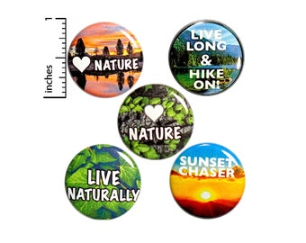 "Hiking Gift Set, Natural Living Pin or Magnet 5 Pack, Backpack Pins, Little Hiker Gift, I Love Nature Pin or Magnet Gift Pack, Cute 1"" P15-3"