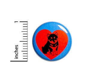 Cute Husky Puppy Dog Button Badge Love Heart Jacket Backpack Pin 1 Inch #50-32 -