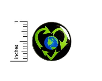Recycling Button Pin Recycle Heart Earth Day Globe Badge for Backpacks or Jackets Cool Pinback Lapel Pin 1 Inch 88-32