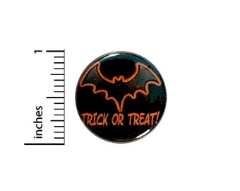 Trick Or Treat Halloween Button Party Favor Treat Bag Pin Spooky Bat Pinback 1 Inch