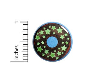 Cute Donut Stars Blue Button Cute Geeky Nerdy Backpack Jacket Pin 1 Inch #46-18 -