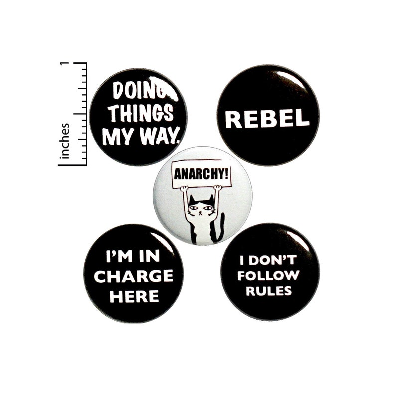 Rebel Button 5 Pack of Backpack Pins Funny Buttons Lapel Pins Cool Brooches  Badges Edgy Pins Cat Anarchy Rebel Gift Set 1 Inch P20-2