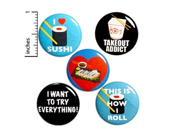 """Foodie Pin for Backpack Buttons or Fridge Magnets Sushi Takeout Cute Lapel Pins Cool Brooches Badges Pinbacks Foodie Gift Set 1"""" #P13-2"""