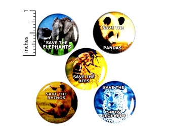 """Endangered Species Buttons or Fridge Magnets, 5 Pack of Backpack Pin Buttons or Magnets, Endangered Species, Animal Pins, Gift Set 1"""" #E2"""