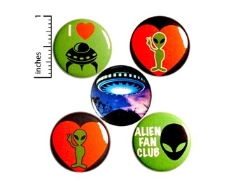 Alien Pin for Backpack, Button or Fridge Magnet Set, Backpack Pin, I Love Aliens, UFO Lapel Pin, 5 Pack, Alien Gift Set, 1 Inch #P47-5