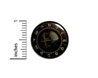 Compass Button // for Backpack or Jacket Pinback // Traveler Explorer Steampunk Pin // 1 Inch 15-6