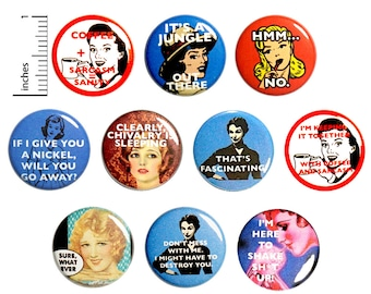 Funny Sarcastic Buttons Pin for Backpack or Jackets Lapel Pins Buttons Vintage Women Edgy Cool 10 Pack Gift Set 1 Inch 10P8-2