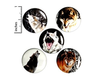 """Wolf Pin Buttons, or Fridge Magnets, Wolves In Nature, Winter Wolves, Wolf Gifts, Nature Button Pin or Fridge Magnet, Gift Set Wolves, 1"""" E2"""