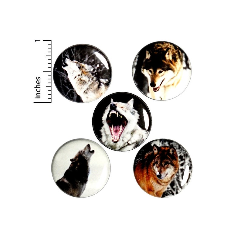 Wolf Buttons 5 Pack of Nature Pins Backpack Pins Lapel Pins Badges Brooches  Animal Pins Wolves Wolf Gift Set 1