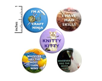 """Cute Little Knitting Gift, Buttons or Fridge Magnets, 5 Pack, Grandma Gift, Gift Set, Gift for Knitters, Apron Pins, Cute Gift Set 1"""" P3-1"""