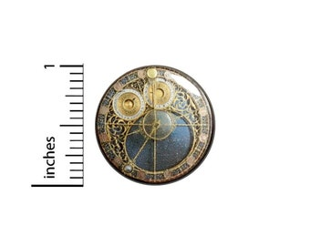 Steampunk Instruments Button // Compass Map Pinback for Backpack or Cosplay // Dieselpunk Pin // 1 Inch 14-13