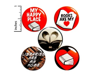 Book Lover Gift, Reading Pin Buttons or Fridge Magnets, Reading Gift, Cute Book Pin Button or Magnet, Gift Set, Introvert Pins, 1 Inch P32-3