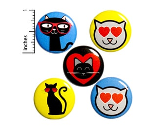 """Cute Cat Button 5 Pack of Backpack Pins Badge Lapel Pin Kitty Cat Pins Cute Cat Gift Set 1"""" #P21-3"""