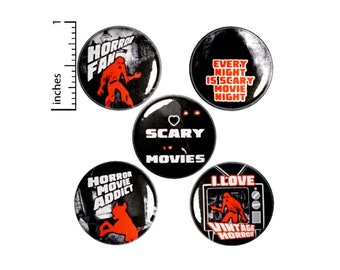 """Vintage Horror Movies Buttons or Fridge Magnets 5 Pack of Backpack Pins I Love Scary Movies Lapel Pins Slasher Film Fan Gift Set 1"""" SP5-2"""