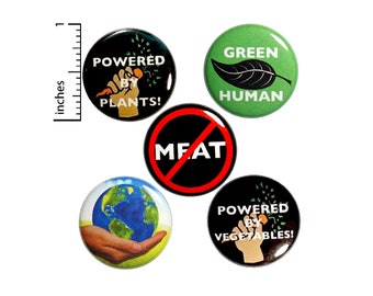 """Vegetarian Button 5 Pack of Backpack Pins Vegan Buttons Badges Lapel Pins Eco-Friendly Vegetarian Button Gift Set 1"""" #P21-2"""