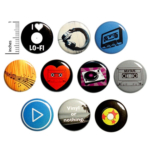 Music Buttons Cool Pins for Backpacks Featuring Records Cassette Tapes  Headphones Music Notes Play Button 10 Pack Gift Set 1 Inch 10P5-2