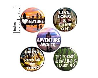 "Hiking Buttons or Fridge Magnets, Hiker Gift Set, Backpack Pins, Button or Magnet Set, Hiking Gifts, Adventurer Gift, Hiker Gifts 1"" P27-5"