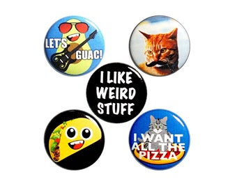 """Weird Random Humor Gift, Backpack Pin Set of 5 Buttons or Fridge Magnets, Mustache Cat, Pizza, Tacos, Badges Funny, Cute Lapel Pins 1"""" P53-2"""