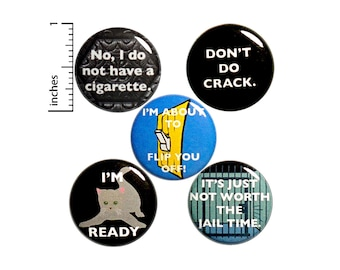 """Sarcastic Pin for Backpack or Fridge Magnets, Funny Buttons Pins for Jackets, Lapel Pins, Badges, Snarky, Silly, 5 Pack Gift Set 1"""" P45-1"""