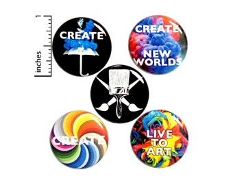 Creative Artist Buttons Pin for Backpack or Jackets Lapel Pins or Fridge Magnets Creative Visual Art Painting 5 Pack Gift Set 1 Inch P38-4