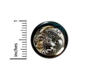 Steampunk Button // Skeleton Watch Pinback for Backpack or Jacket // Dieselpunk Gears Wheels Cogs Pin // 1 Inch 14-12