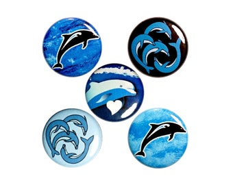 """Dolphins Button Pin Set for Backpacks or Fridge Magnet Set, Dolphin Lover Gifts, Island Pin or Magnet 5 Pack, Gift Set, 1"""" #P52-4"""