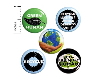 """Recycling Buttons or Fridge Magnets // 5 Pack // Backpack Pins // Badges // Lapel Pins // Eco-Friendly // Earth Pins // Gift Set 1"""" #P9-1"""