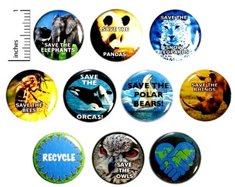 """Endangered Species Buttons (10 Pack) Save The Polar Bears, Elephants, Bees, Rhinos, Save The Planet, Pins or Magnets, Gift Set, 1"""" 10P14-2"""