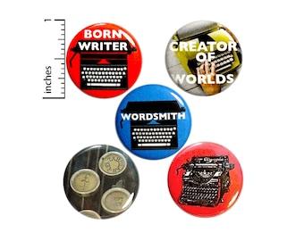 "Writer Pins 5 Pack of Buttons Lapel Pins Badges Novelist Blogger Travel Writer Gift Set 1"" #P13-3"