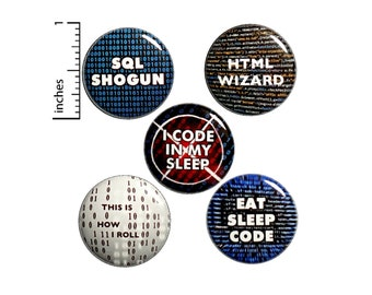 """IT Button or Fridge Magnets // Funny Techy Gifts // Backpack Pins // Mini Fridge Magnets // Tech Humor 5 Pack // Developer Gift Set 1"""" #P6-2"""