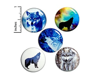 """Wolf Buttons or Fridge Magnets // 5 Pack // Wolves // Backpack Pins // Lapel Pins // Badges // Brooches // Animal Pins // Gift Set 1"""" P1-4"""