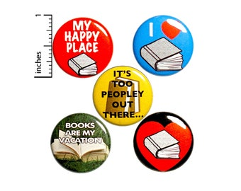 Cute Gift for Book Lover, Reading Pin Buttons or Fridge Magnets, Reading Gift, Pin Button or Magnet, Gift Set, Introvert Pins, 1 Inch P12-2