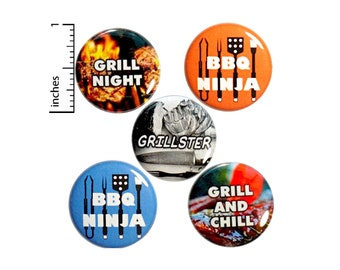 """BBQ Grilling Gift Set for Dads or Moms, Buttons Set of 5 Pins for Aprons, Pin for Backpack, Jacket Lapel Pins, BBQ Ninja, 5 Pack 1"""" P31-3"""