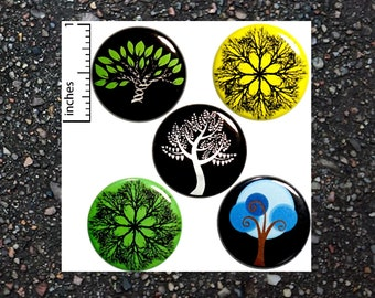 Tree Buttons Pin for Backpack Jackets Nature Pinback Badges Brooches Lapel Pins or Fridge Magnets 5 Pack Gift Set 1 Inch P29-4