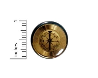 Gold Compass Button // for Backpack or Jacket Pinback // Traveler Explorer Steampunk Pin // 1 Inch 15-4