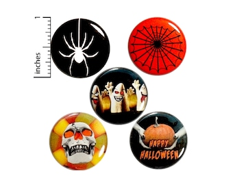 """Halloween 5 Pack Buttons Spider Web Ghost Party Favor Treat Bag Happy Halloween Backpack Pins Cool Cute Set 1"""" P16-4"""