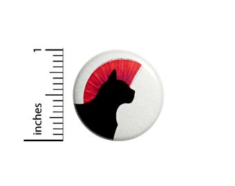 Funny Button Punk Rock Mohawk Cat Pink Black Backpack Pin Rad Awesome 1 Inch #37-13