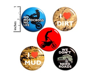 """Off-Road Buttons or Magnets - Dirt Bike Riding - Backpack Jacket Pins - Motocross - Extreme Sports - Motorcycle Magnets - 5 Pack 1"""" P17-2"""