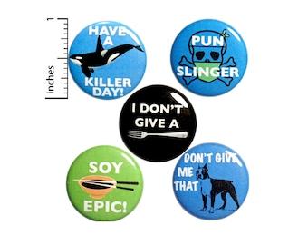 "Pun Button 5 Pack of Backpack Pins Cute Pins Animal & Food Puns Badges Pinbacks Lapel Pins Gift Set - 1"" P23-3"