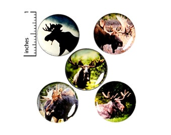 """Moose Backpack Pins, Buttons or Fridge Magnets, Nature Pin Set, Forest Animal, Pin or Magnet Hiker Gift Set, Lapel Pins, Hiking Pins 1"""" E3-5"""