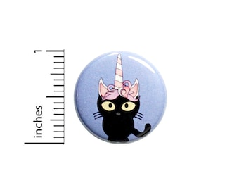 """Unicorn Kitty Button Pin or Fridge Magnet, Unicorn Kitty Gift, Birthday Gift, Cute, Unicorns, Gift, Cute Pin, Button or Magnet, 1"""" 86-7"""