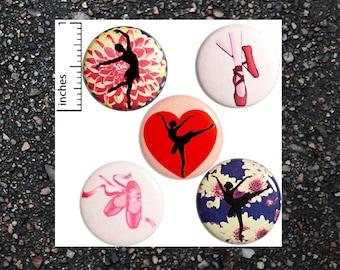"""Ballet Dancer Buttons Pins or Fridge Magnets, Ballerina Pins, Dance Button Gift Set, Pretty Pink Dancing Girl Flowers Hearts 5 Pack 1"""" P20-4"""