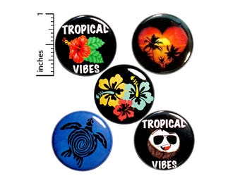 Tropical Beach Buttons Cute Beachy Travel Sunset Pin for Backpack Badges Brooches Pinbacks or Fridge Magnets 5 Pack Gift Set 1 Inch P30-4