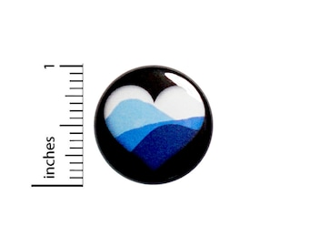 Mountains Heart Button // Hiking Pin // Backpack Pin // Nature Lover // Lapel Pin // Traveler Gift // Pinback 1 Inch #83-21