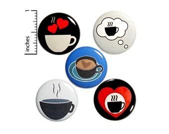 """Cute Coffee Pin Button Set of 5 Buttons or Fridge Magnets I Love Coffee Jacket Lapel Pins Badges Coffee Cups Coffee Lover Gift Set 1"""" P47-1"""